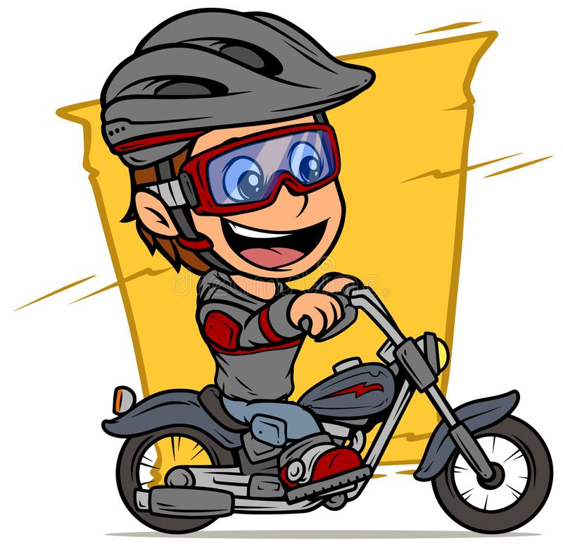 Cartoon boy character riding on retro motorbike. Cartoon white cute smiling flat brunette boy character riding on retro motorbike with red lightning in stock illustration