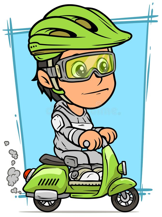 Cartoon brunette girl character riding on scooter. Cartoon white cute smiling flat brunette girl character riding on green retro scooter in protective helmet and royalty free illustration