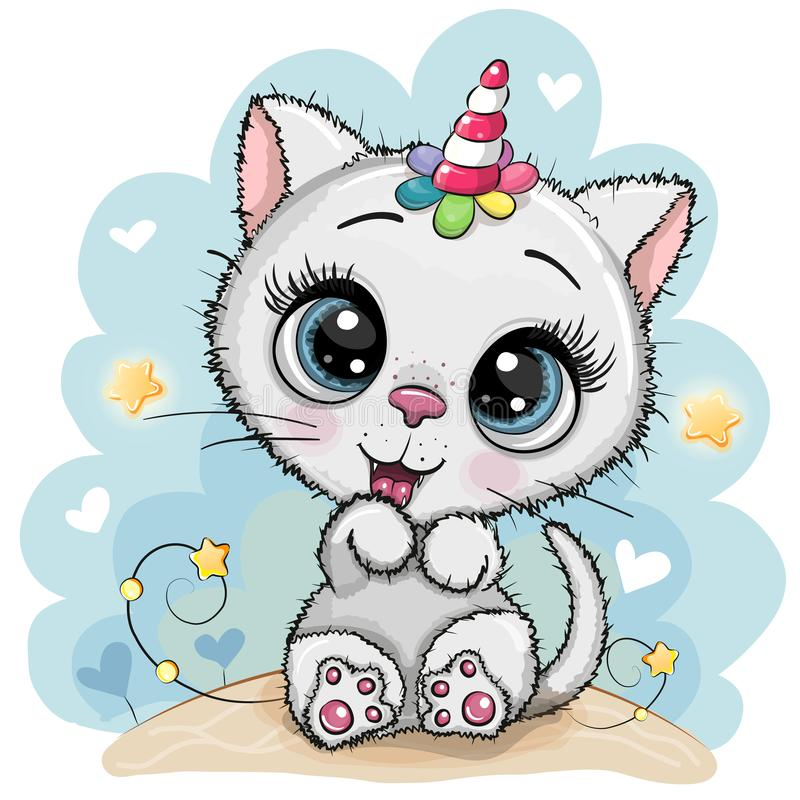 Free Cartoon White Kitten With The Horn Of A Unicorn Royalty Free Stock Images - 149141599