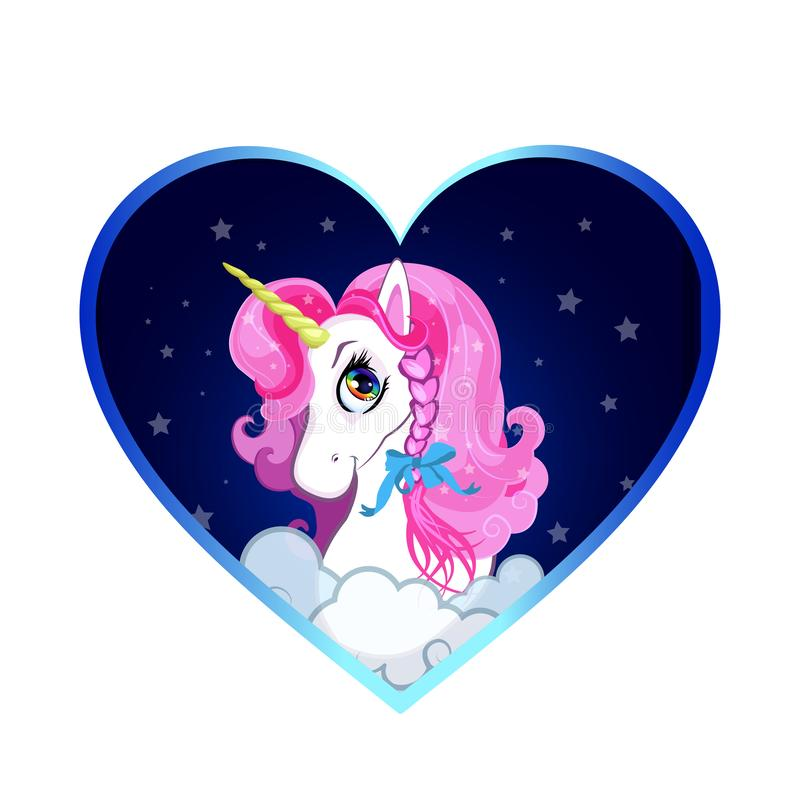 Cartoon white unicorn head with pink hair portrait inside of heart background stock illustration