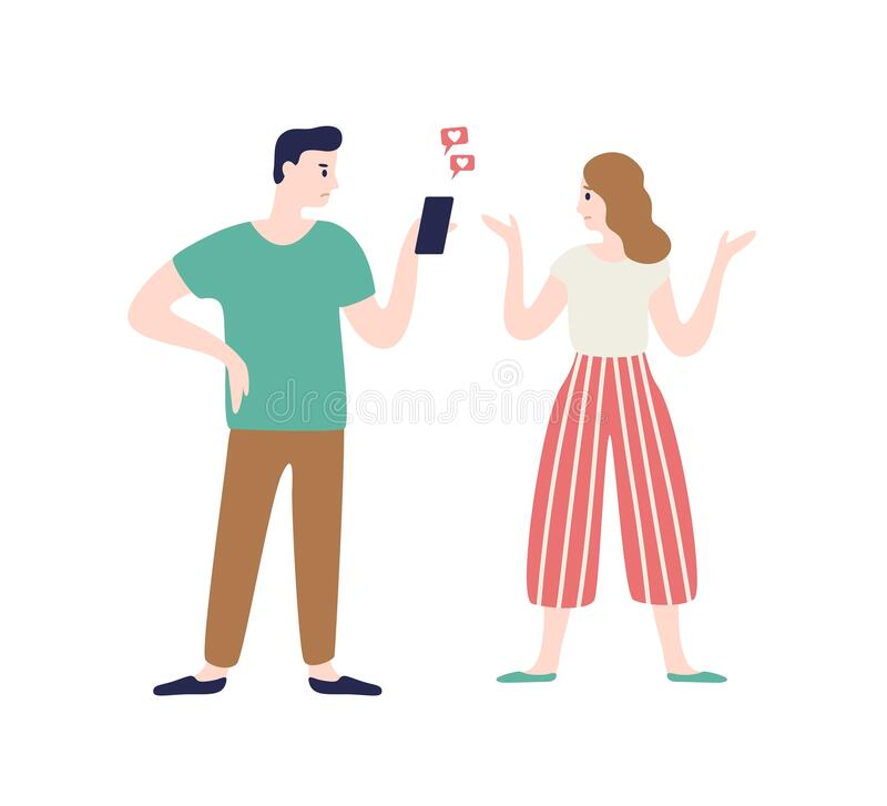 Cartoon wife incriminating at treason of husband vector flat illustration. Annoyed woman talking man flirting chatting. With another person use smartphone vector illustration