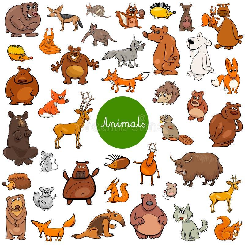 Cartoon wild animal characters big set vector illustration