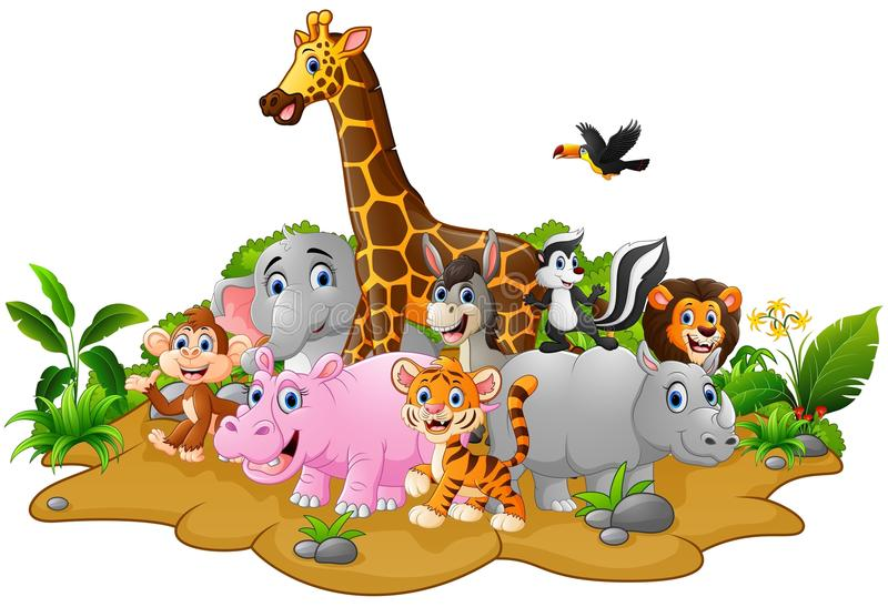 Cartoon Wild Animals Background Stock Vector