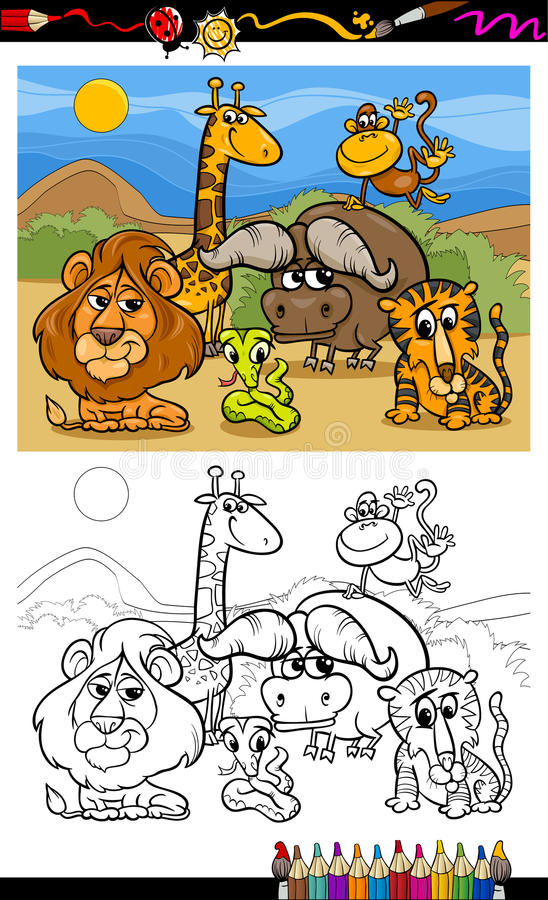 Cartoon Wild Animals Coloring Page Stock Vector