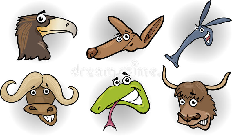 Cartoon Wild Animals Heads Set Stock Photos
