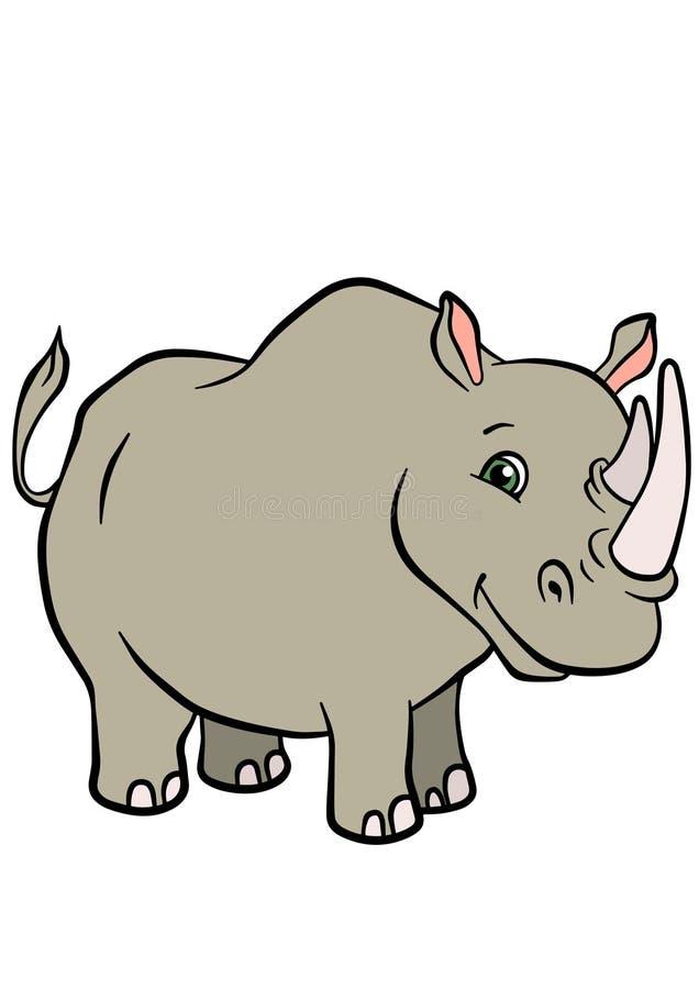 Cartoon Wild Animals For Kids Cute Rhinoceros Stock