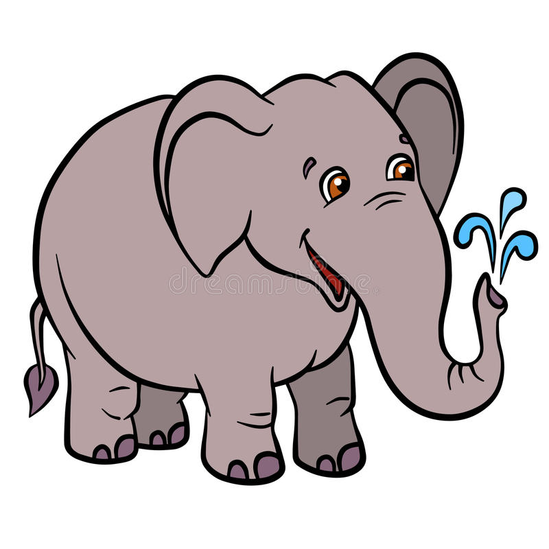cartoon wild animals for kids little cute elephant lets water fountain from the trunk he smiles - Pictures Of Animals For Kids