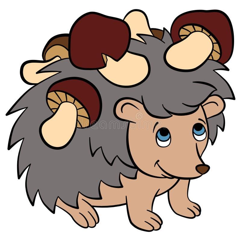Cartoon wild animals for kids. Little cute hedgehog. Cartoon wild animals for kids. Little cute hedgehog has mushrooms in his needles. He smiles stock illustration