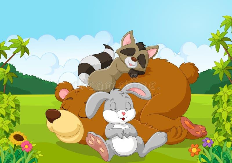 Cartoon Wild Animals Sleeping In The Jungle Stock Vector ...