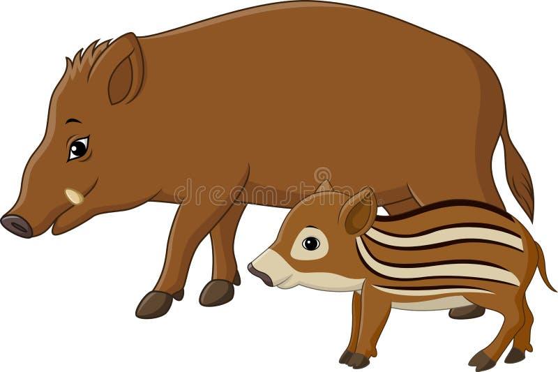 Cartoon wild boar and piglet. Illustration of Cartoon wild boar and piglet royalty free illustration