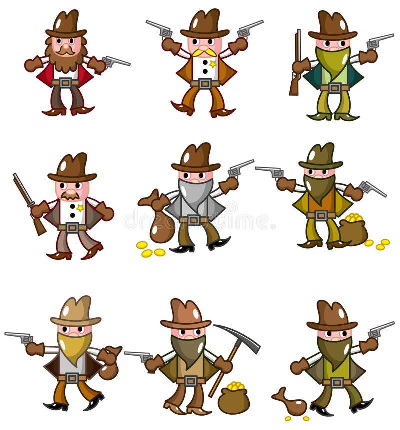 Cartoon wild west cowboy icon royalty free illustration