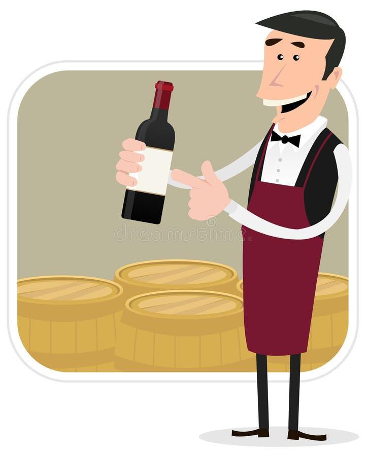 Cartoon Winemaker. Illustration of a cartoon winemaker holding bottle of red wine with barrels background behind stock illustration