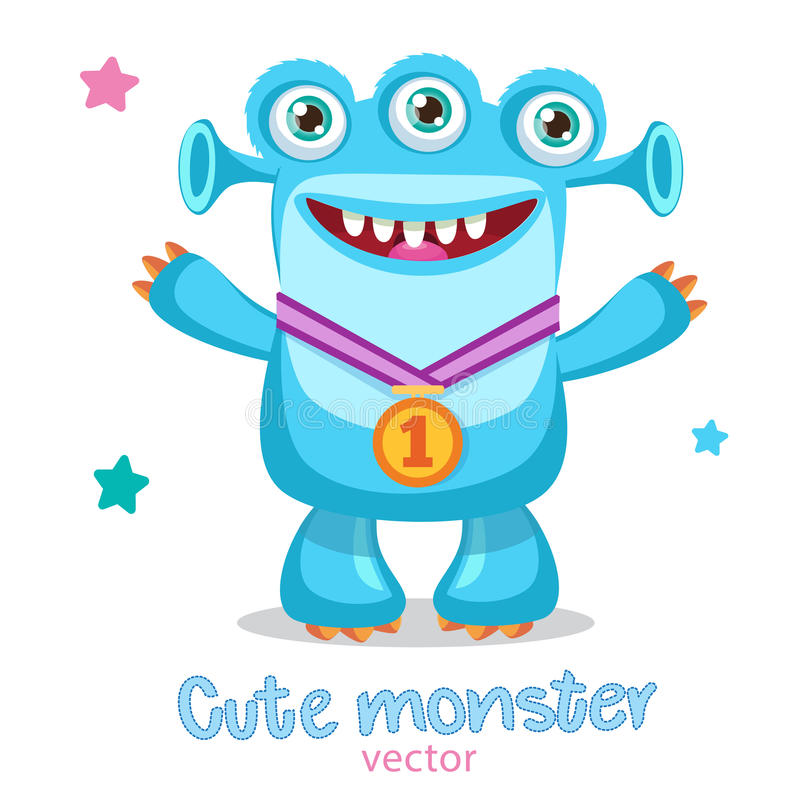 Cartoon Winner Monster Mascot. Сhampion With Medal Vector. Friendly Monster Meme. True Happy Face. royalty free stock images