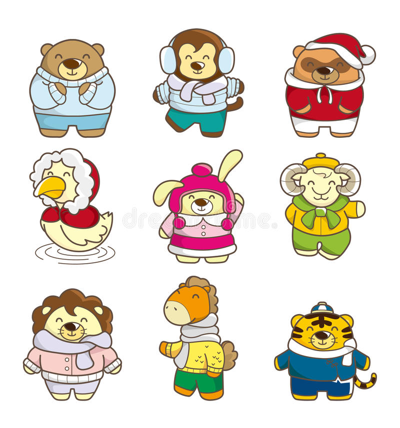 Download Cartoon winter animal stock vector. Image of coat, animal - 17422175