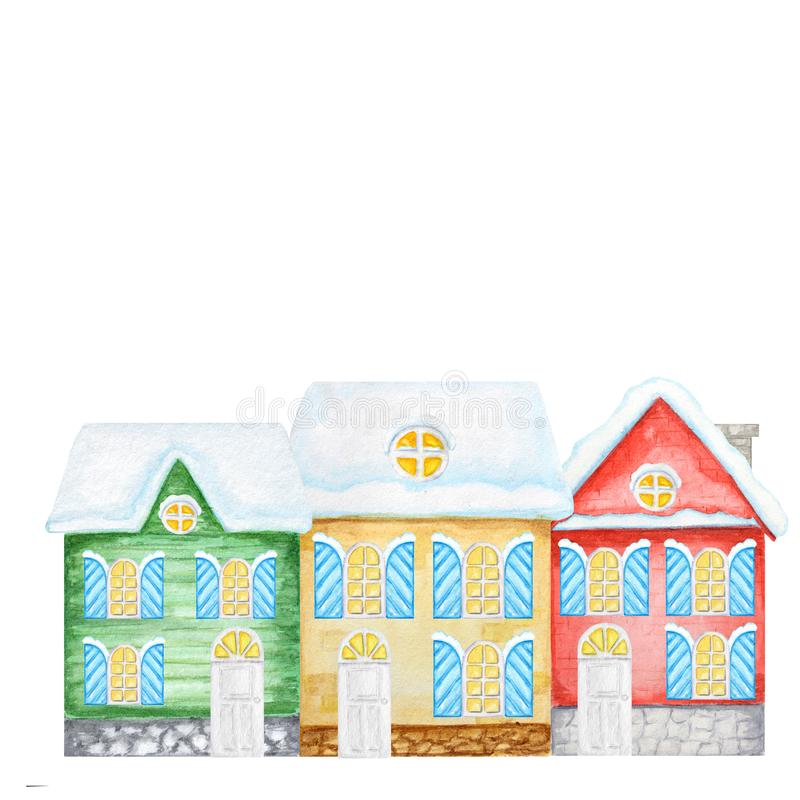 Cartoon Winter Christmas Houses. Front view of Red, Yellow, Green House. Watercolor New year Greeting card, poster royalty free illustration