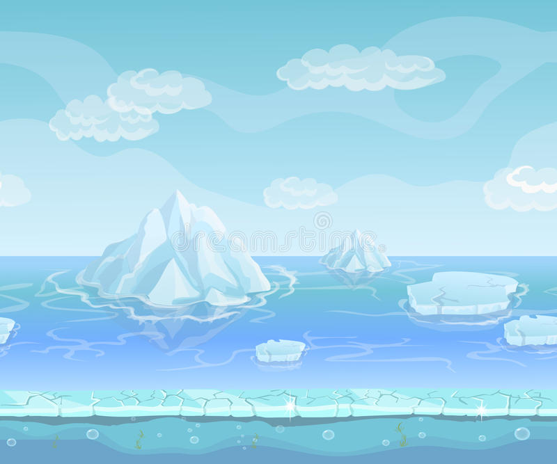 Cartoon winter landscape with iceberg and ice, snow sky. Seamless vector nature background for UI games. Iceland and berg, north polar environment illustration stock illustration