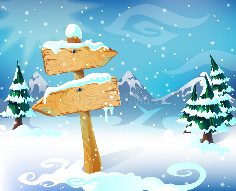 Cartoon Winter Landscape Template. With wooden blank snowbound signboard trees mountains and sky vector illustration stock illustration