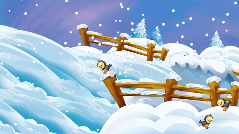 Cartoon winter scene with falling snow vector illustration