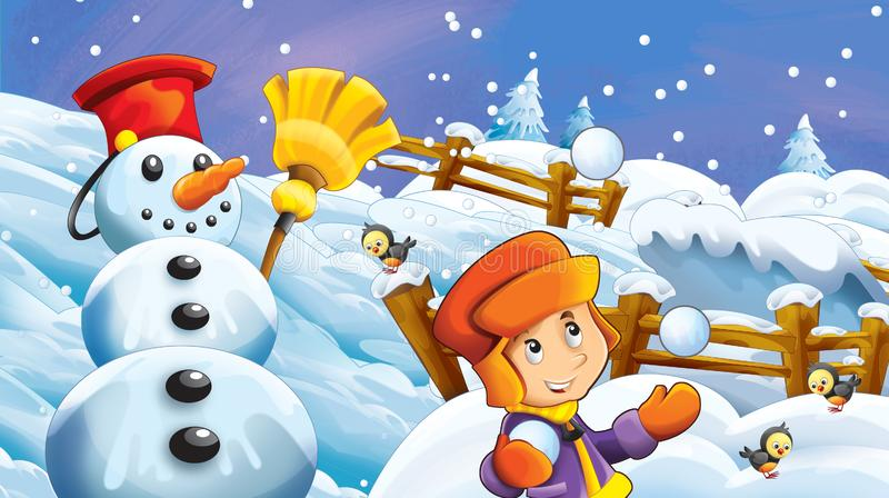 Cartoon winter scene with kids playing snow fight with snowman royalty free illustration