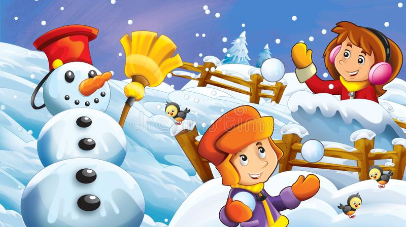 Cartoon winter scene with kids playing snow fight with snowman vector illustration