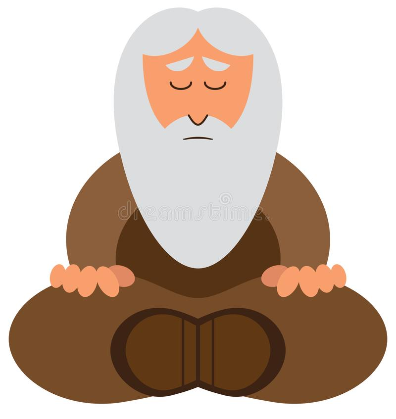 Cartoon Wise Man Meditating. A mature cartoon wise man with a long gray beard is meditating stock illustration