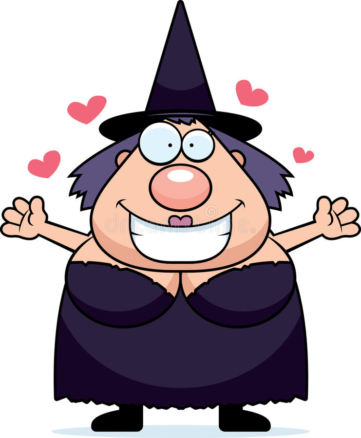 Cartoon witch hug stock vector image