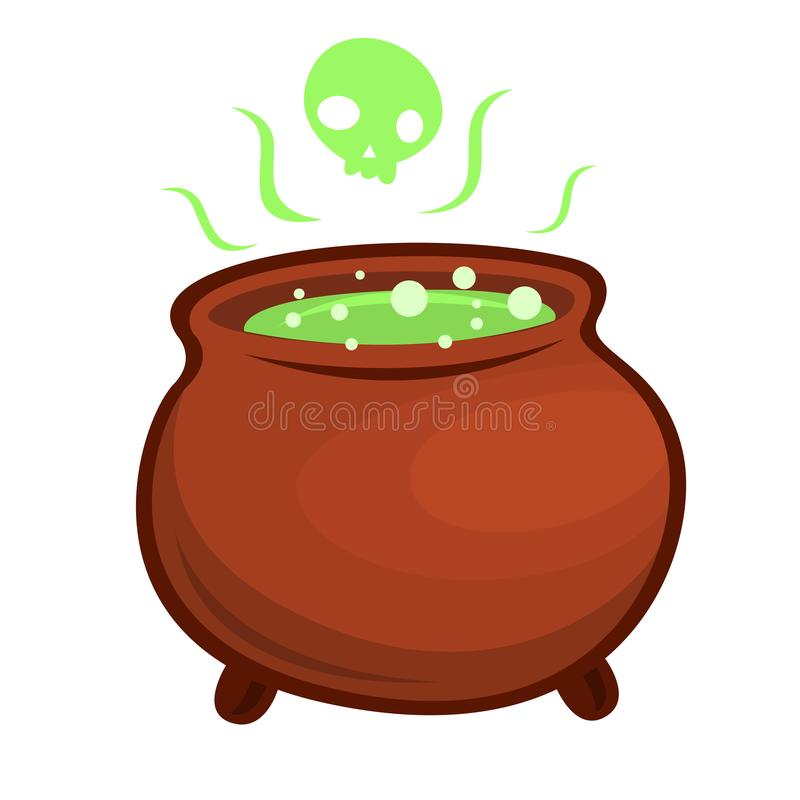 Cartoon witch pot with boiled poison or green spell liquid. Halloween icon stock photo