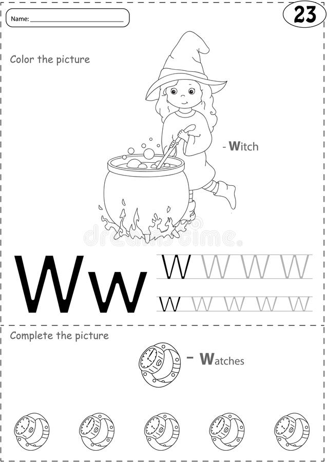 Cartoon witch and watches. Alphabet tracing worksheet: writing. A-Z, coloring book and educational game for kids vector illustration