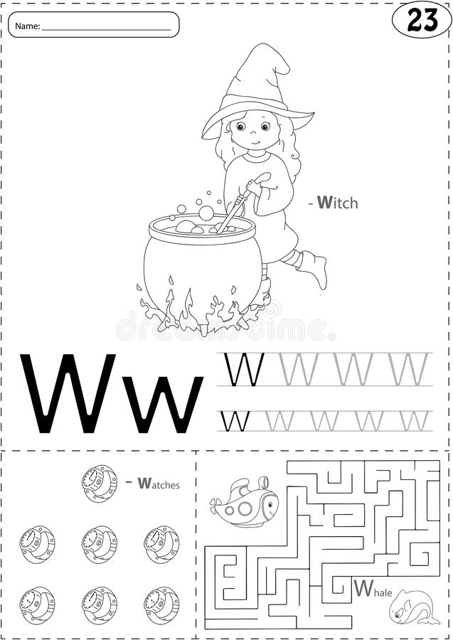 Cartoon witch, watches and whale. Alphabet tracing worksheet: writing A-Z and educational game for kids. Cartoon witch, watches and whale. Alphabet tracing royalty free illustration