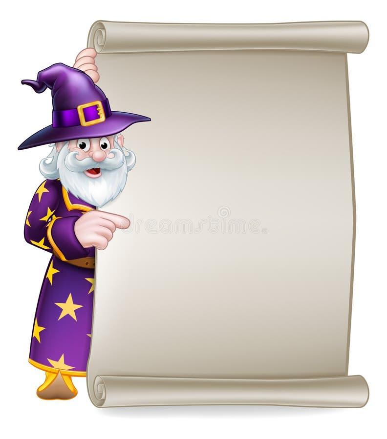 Cartoon Wizard Halloween Scroll Sign royalty free illustration