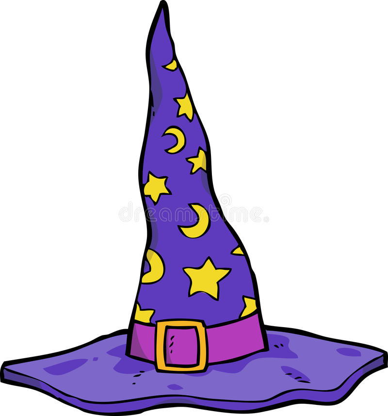 Cartoon wizard hat. Cartoon doodle wizard hat on a white background illustration royalty free illustration