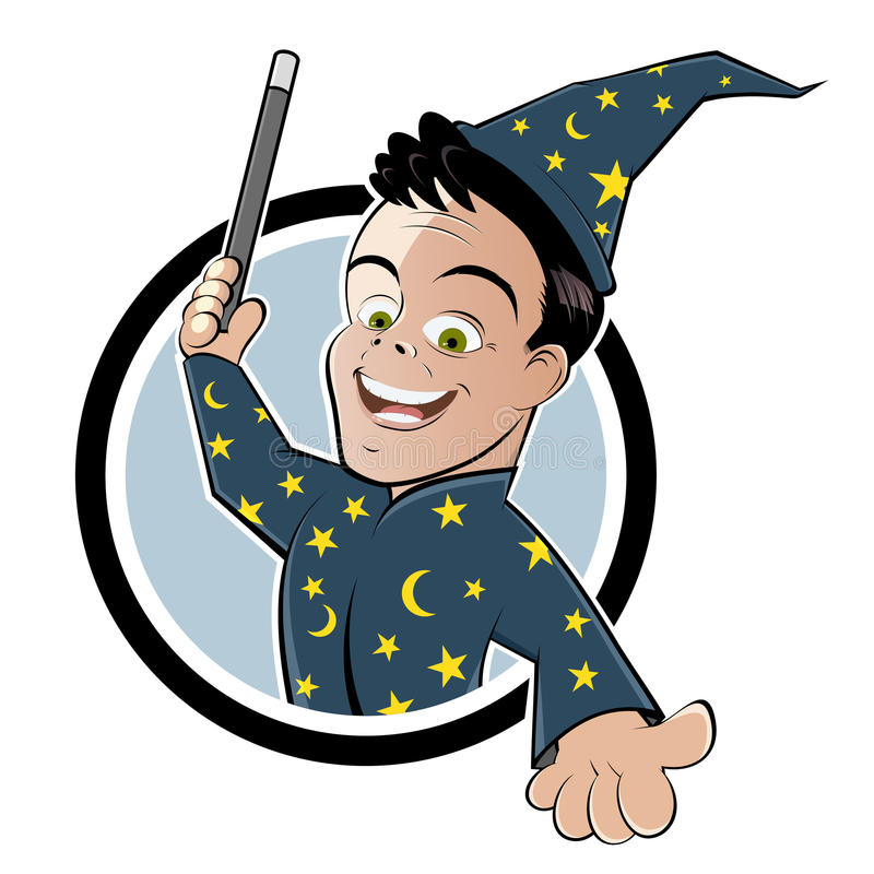 Cartoon wizard with wand vector illustration