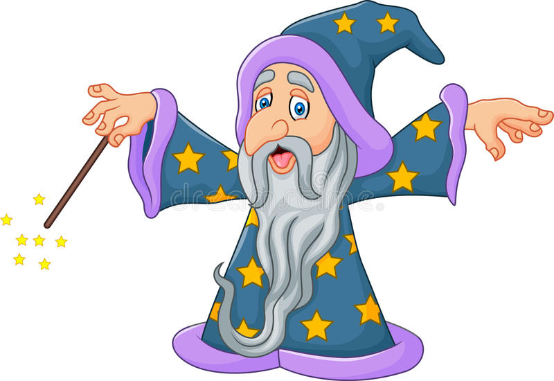 Cartoon wizard is waving his magic wand isolated on white background stock illustration