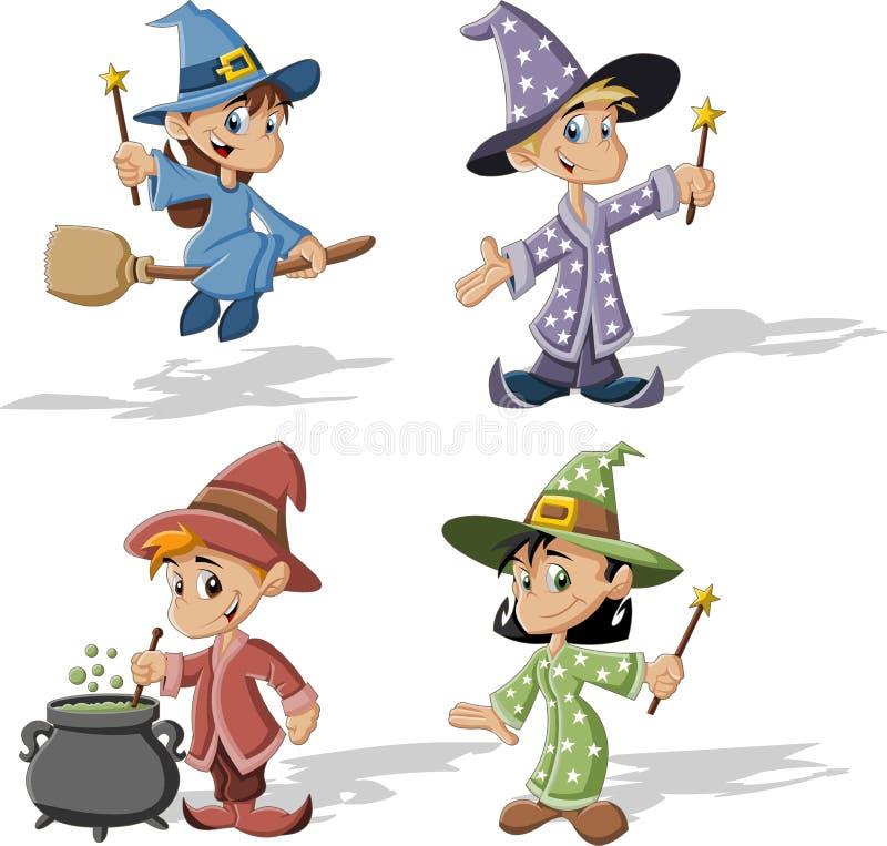Cartoon wizards stock illustration