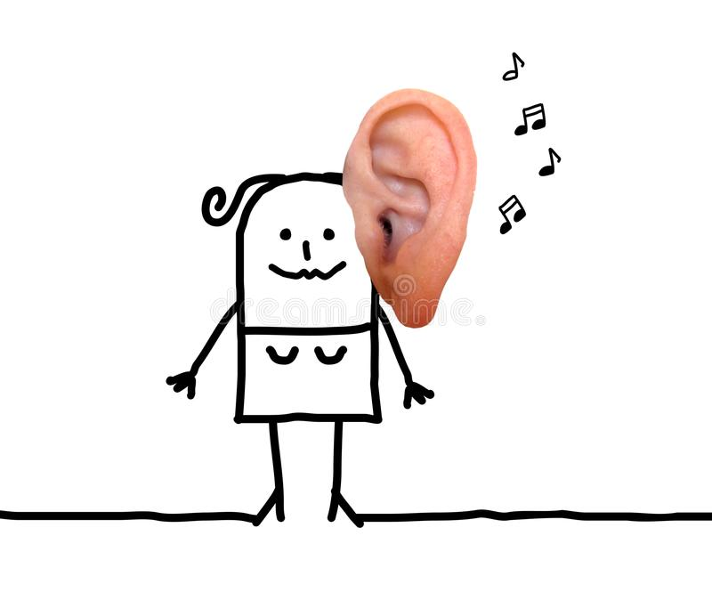 Cartoon Woman with Big Ear and Music. Collage stock photography