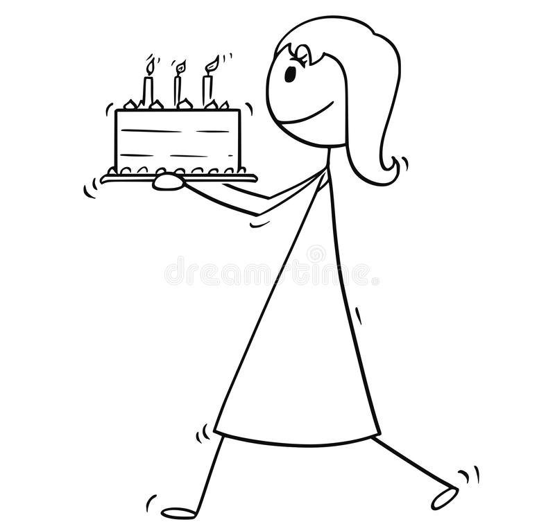 Cartoon Of Woman Or Businesswoman Walking With Birthday Cake Stock