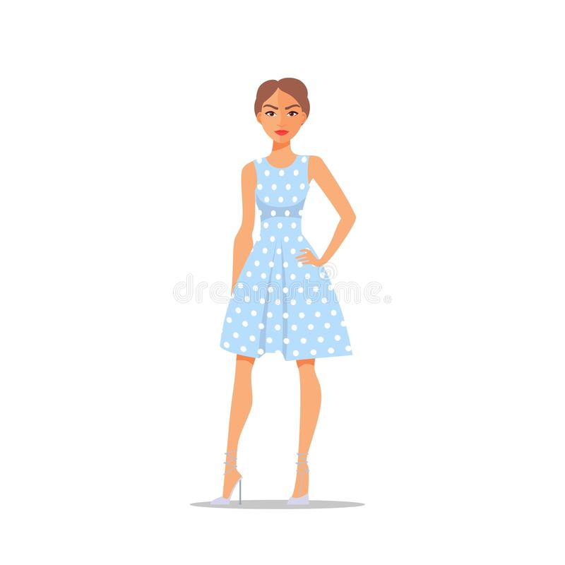 Cartoon Woman character on polka dot dress isolated on white background. Vector stock illustration