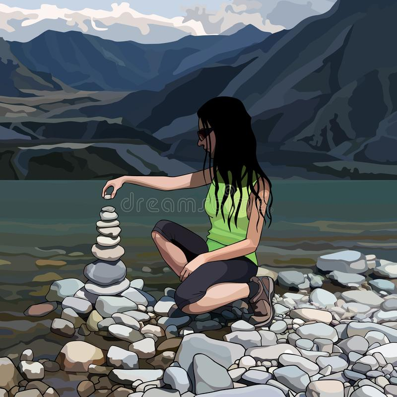 Cartoon woman creates a pyramid of stones on the river bank stock illustration