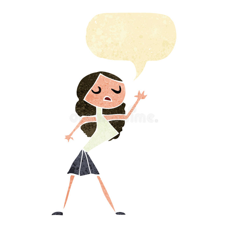 Cartoon woman dancing with speech bubble vector illustration