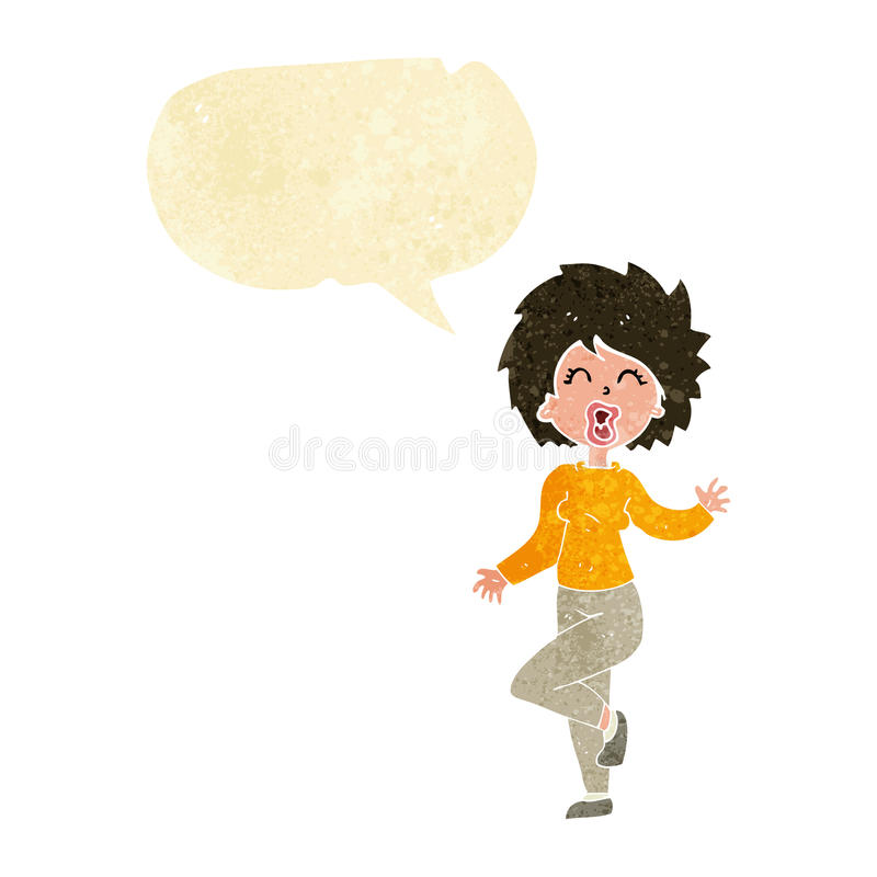 Cartoon woman dancing with speech bubble royalty free illustration
