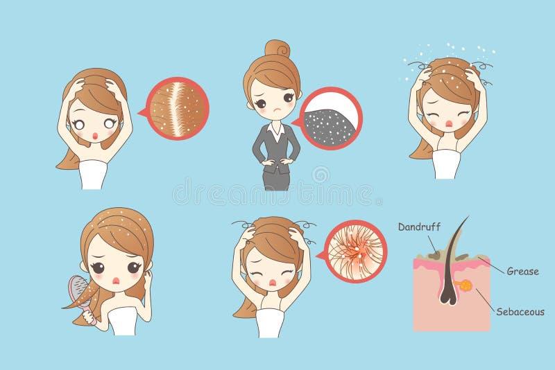 Cartoon woman with dandruff vector illustration