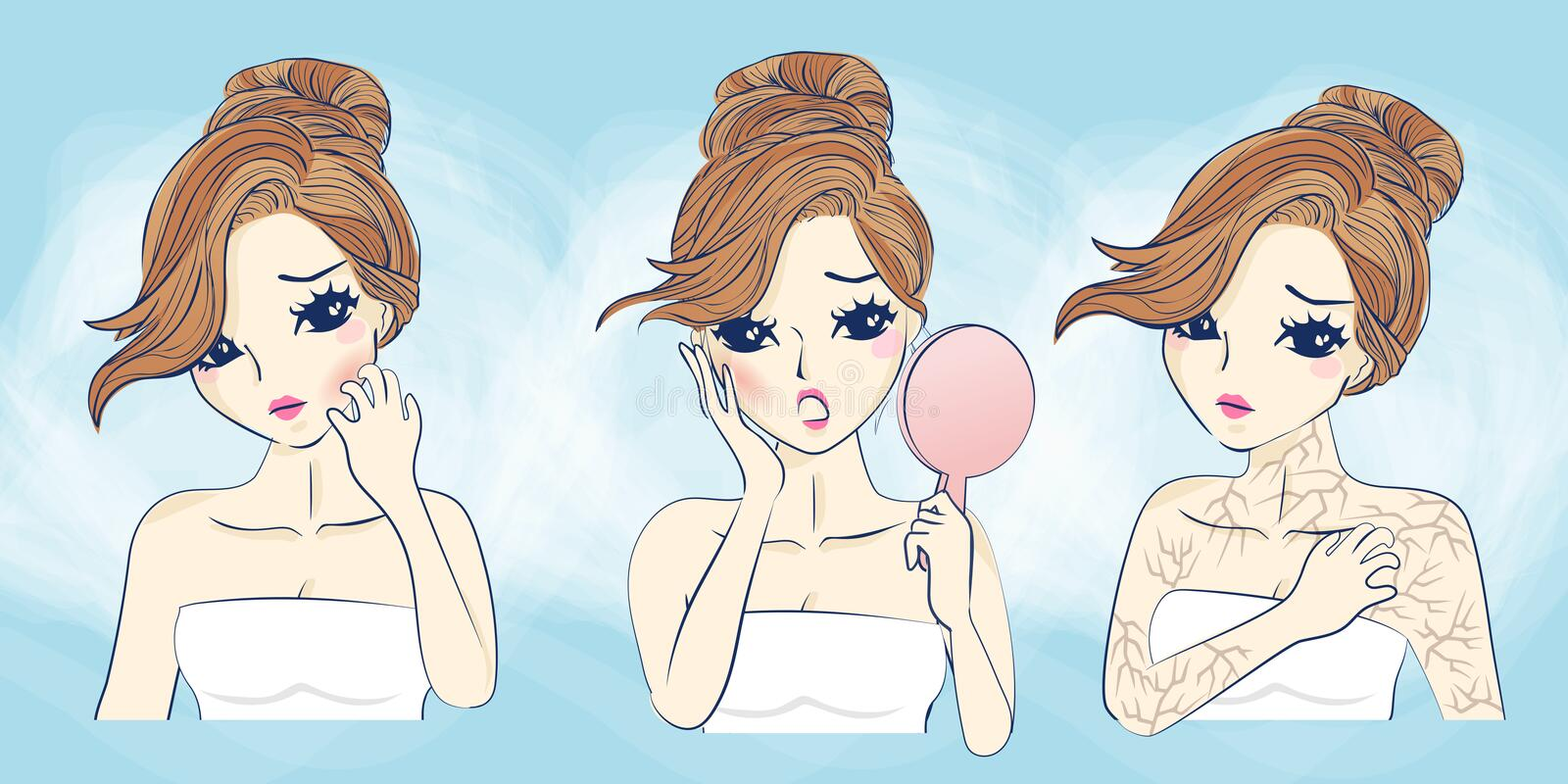 Cartoon woman face skin problem. Cartoon young woman scratching her face having allergy skin problem stock illustration
