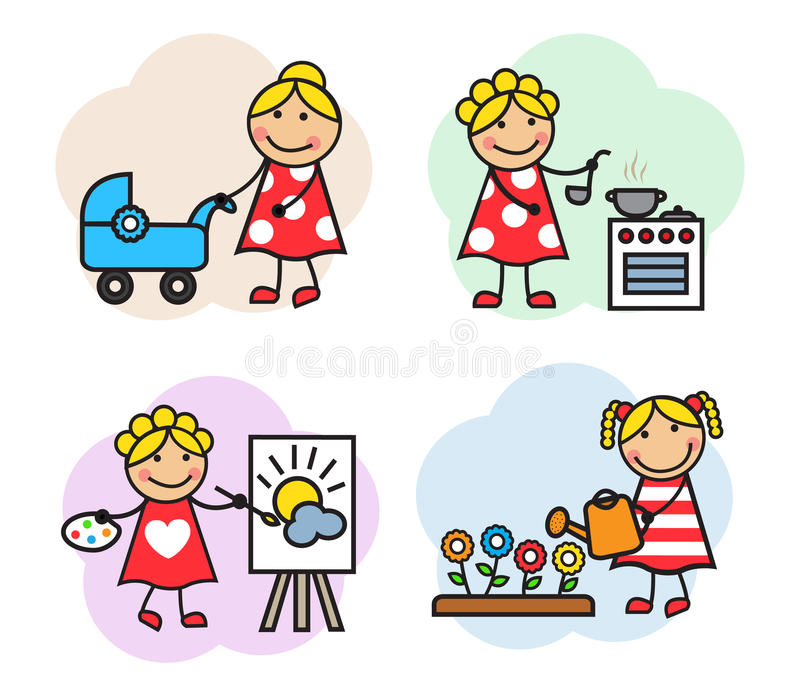 Cartoon woman hobby. Cartoon of women are employed in different hobby. She paints, walking with a stroller, watering flowers and cooks vector illustration
