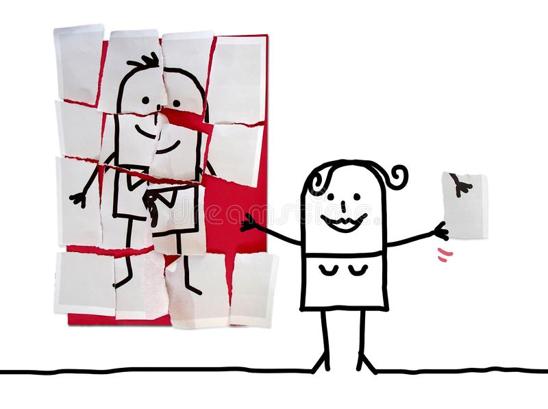 Cartoon Woman with Last Missing Piece for her Man Puzzle stock photo