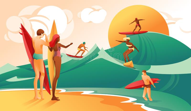 Cartoon Woman Man with Surfboard People Surf Wave vector illustration