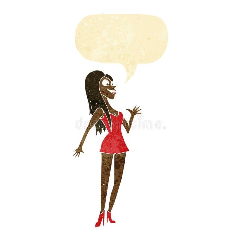 Cartoon woman in pink dress with speech bubble stock illustration