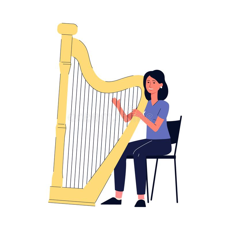 Cartoon woman playing the harp - young harpist girl plucking the strings stock illustration