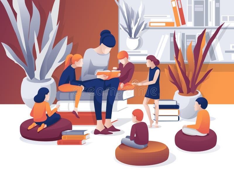Cartoon Woman Read Book Library Children Listen lizenzfreie abbildung
