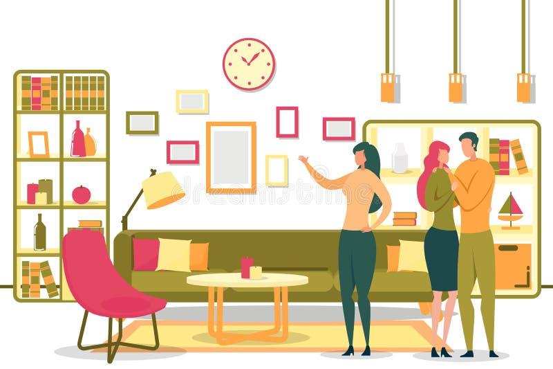 Cartoon Woman Realtor Showing Room to Happy Couple stock illustration