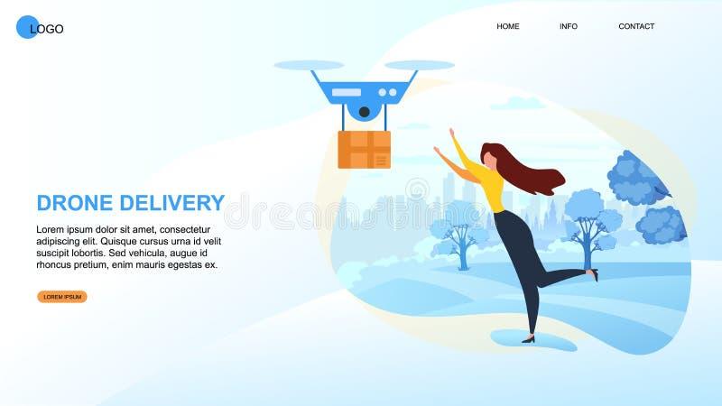Cartoon Woman Recieve Parcel Fast Dron Devivery. Cartoon Woman Recieve Parcel. Dron Devivery Vector Illustration. Cardboard Box Fast Air Shipment. Modern royalty free illustration